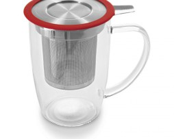 Taza de Cristal Con Infusor Para Té 50 cl Tall Tea Mug Rojo Two Leaves Tea