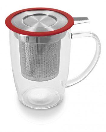 Taza de Cristal Con Infusor Para Té 50 cl Tall Tea Mug Rojo Two Leaves Tea