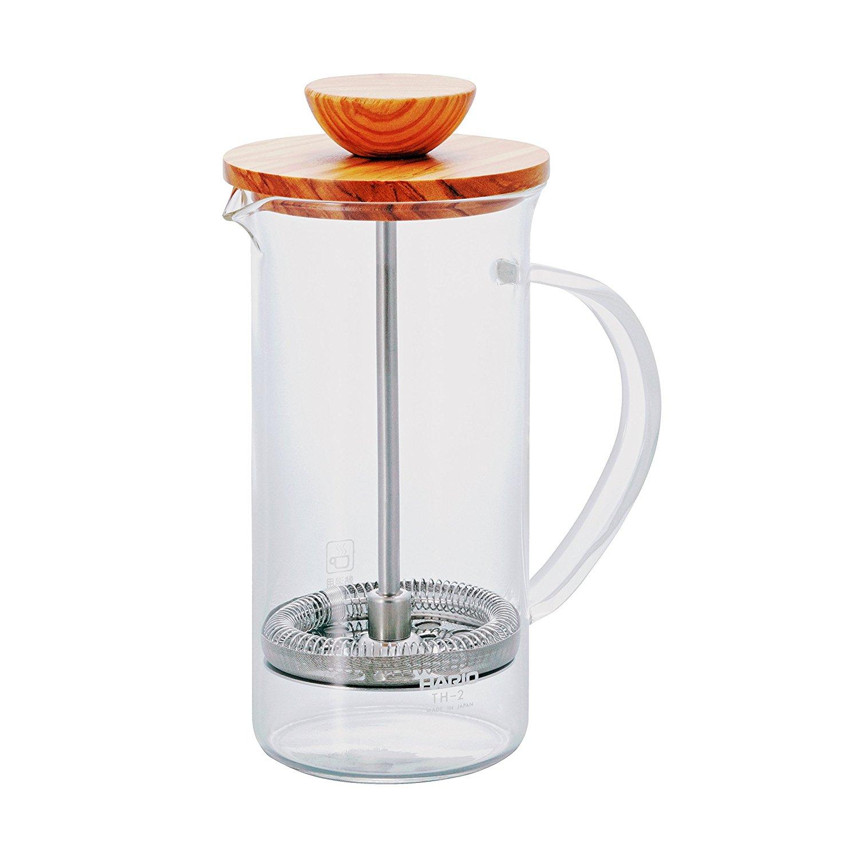 Tetera Press de Cristal Hario Two Leaves Tea