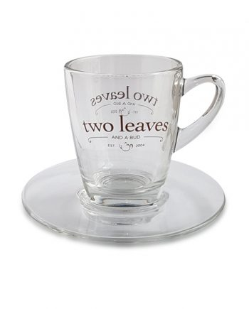 Taza de Té con Plato Cristal Transparente Two Leaves